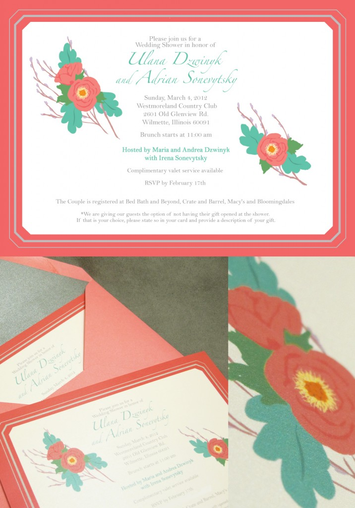 custom invitations designed to specification for a wedding shower