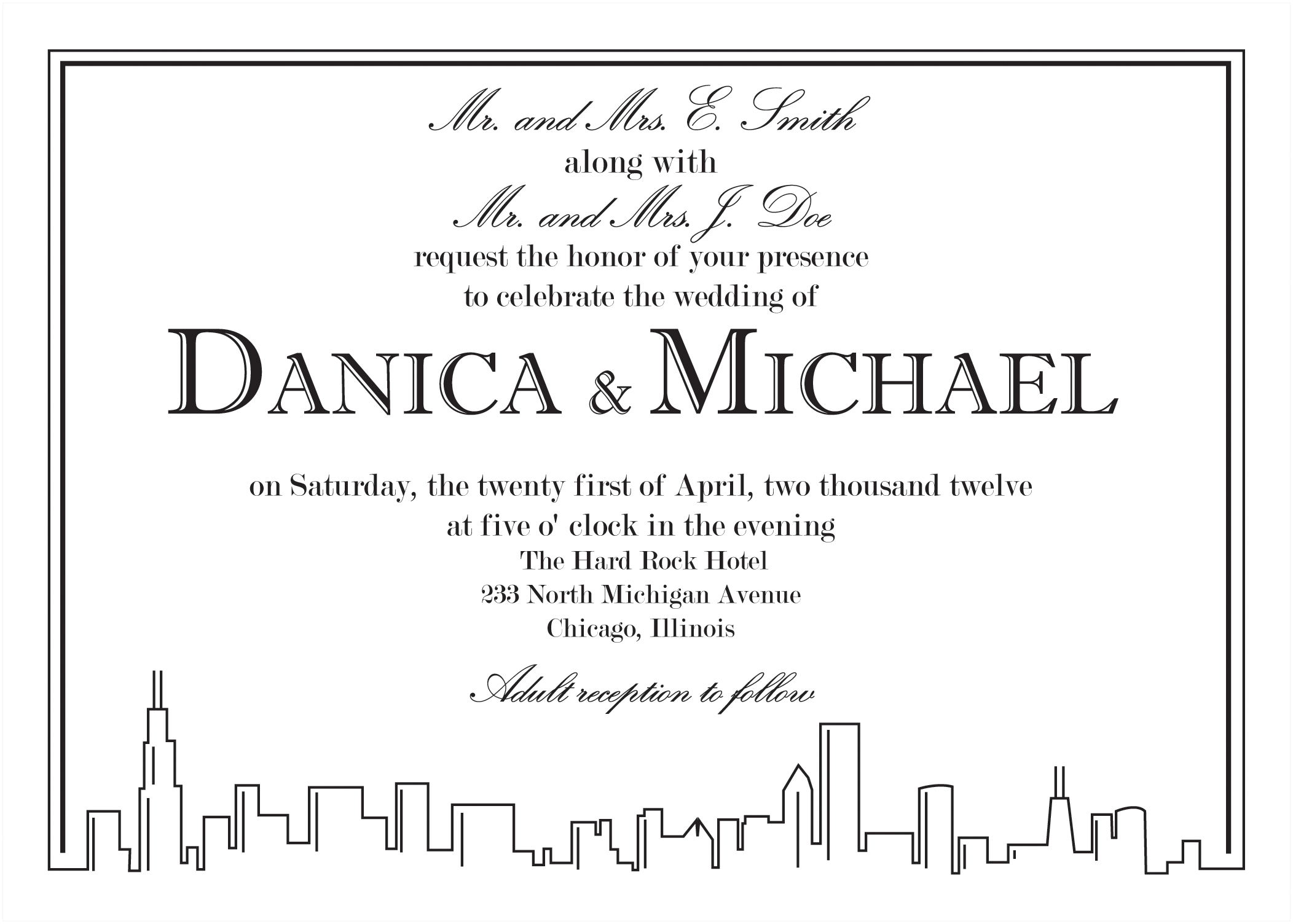 Part of a wedding invitation set (invite, RSVP, enclosure card, place card, etc.) designed to the bride